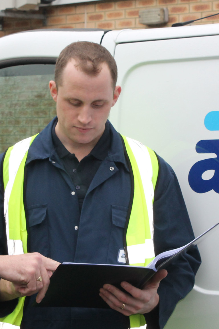 Air Compressor engineers discussing work | compressed air pipework installations | air equipment