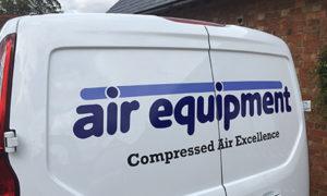 Air Equipment logo on van | air compressors | air equipment