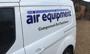 air Equipment logo on a van | air compressors | air equipment