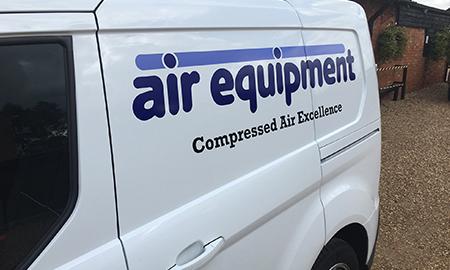 air Equipment logo on a van | air compressors | air equipment
